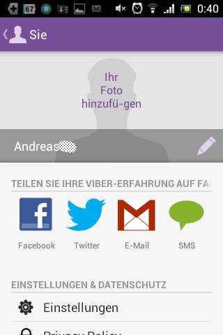 Screenshot: Viber - Profil