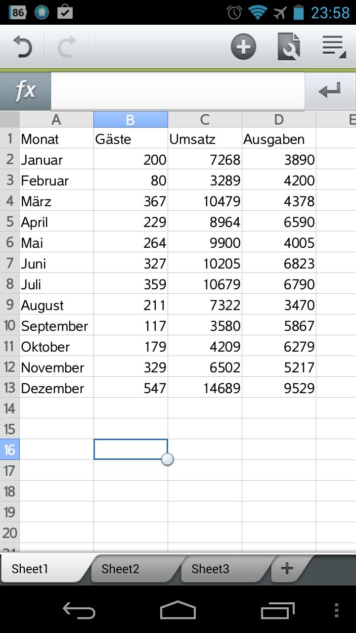 Screenshot: Polaris-Office - Tabellenkalkulation