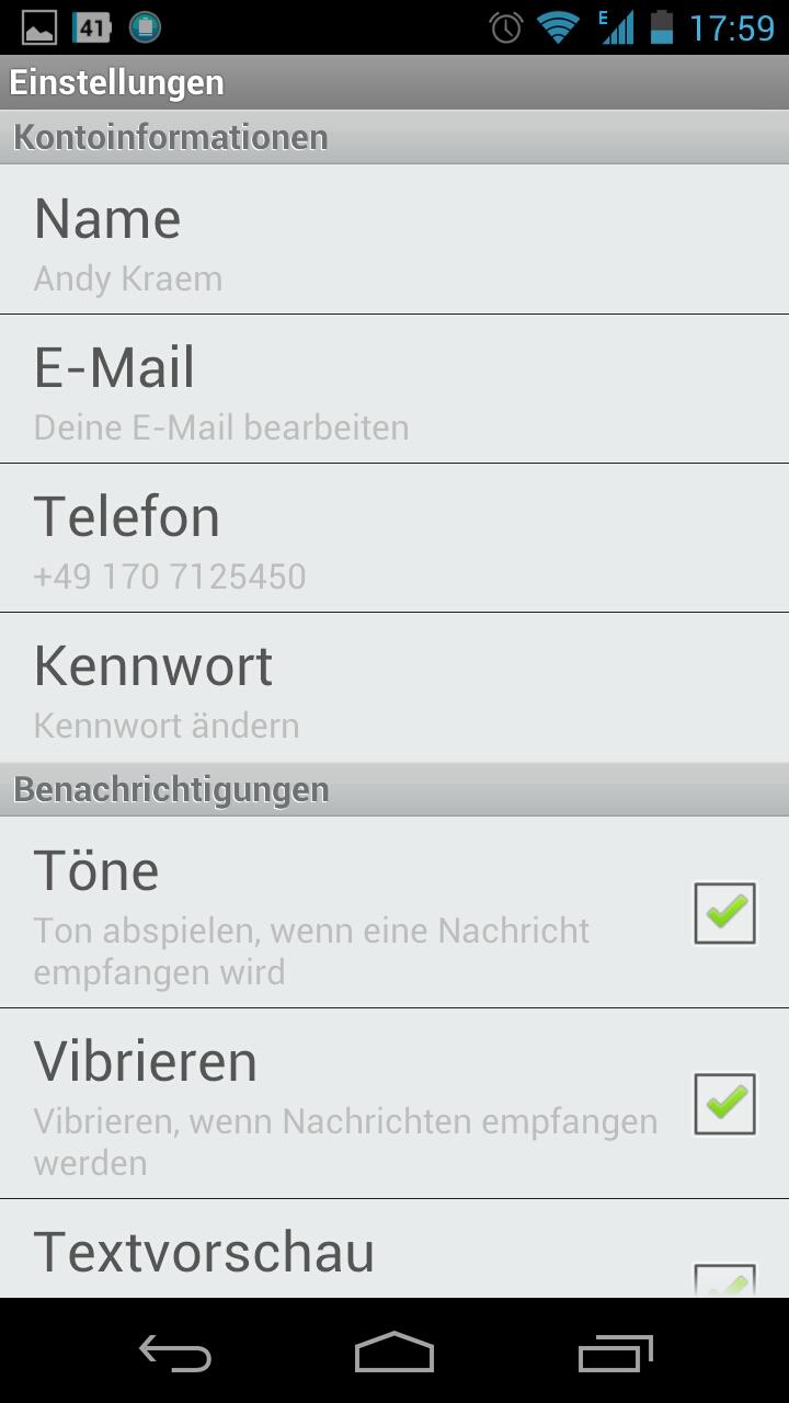 Screenshot: Touch Messenger - Einstellungen