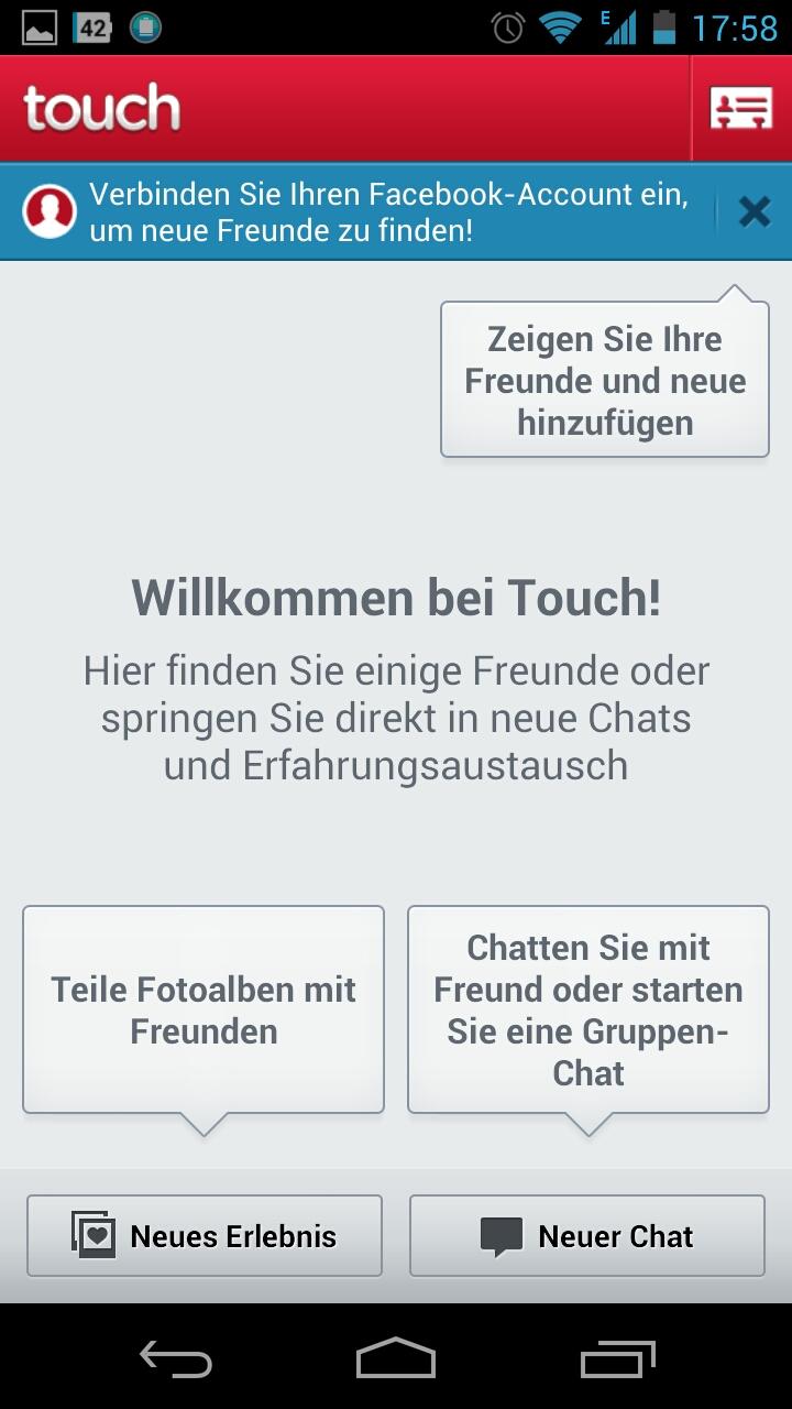 Screenshot: Touch Messenger - Willkommen