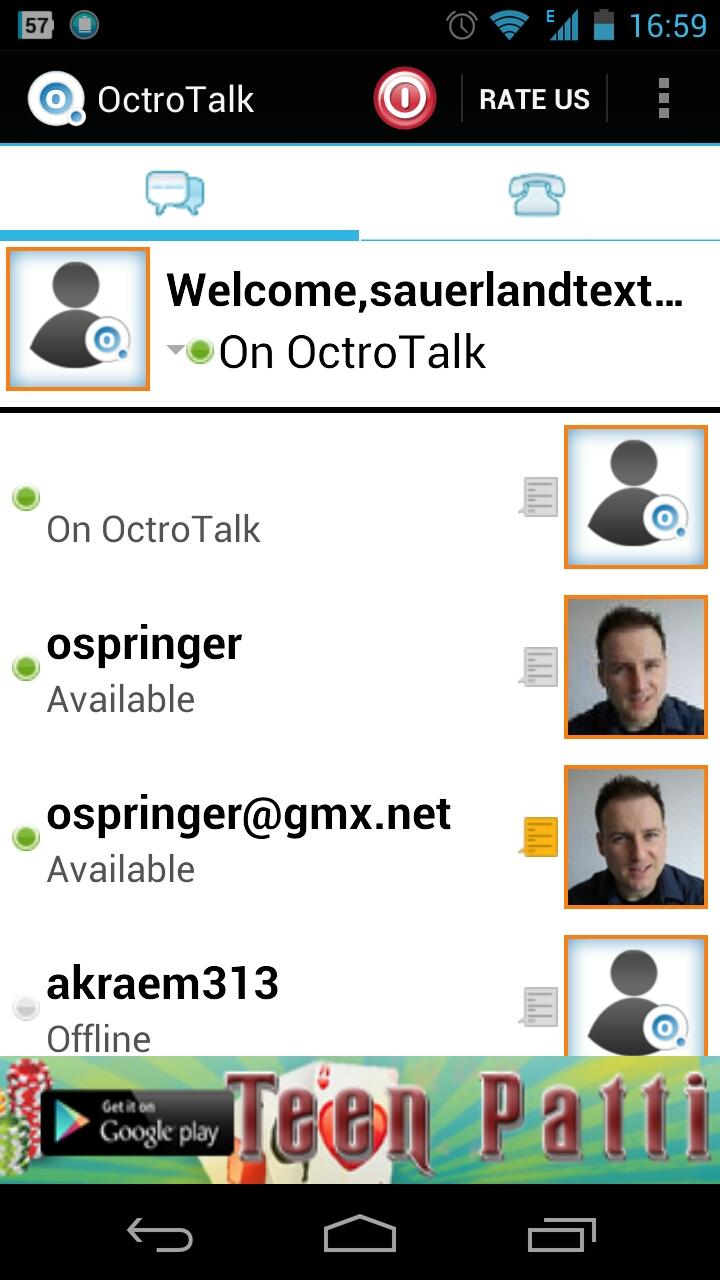 Screenshot Octro Talk - Kontakte