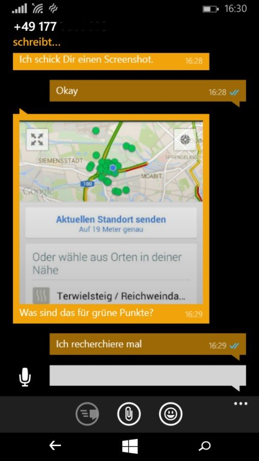 Screenshot: Whats App Standort übermitteln   Bild: Redaktion