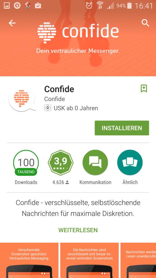 Confide Messenger   Srceenshot : Redaktion