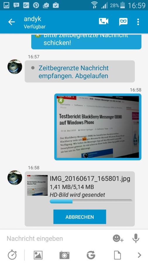 BBM Messenger | Screenshot: Redaktion